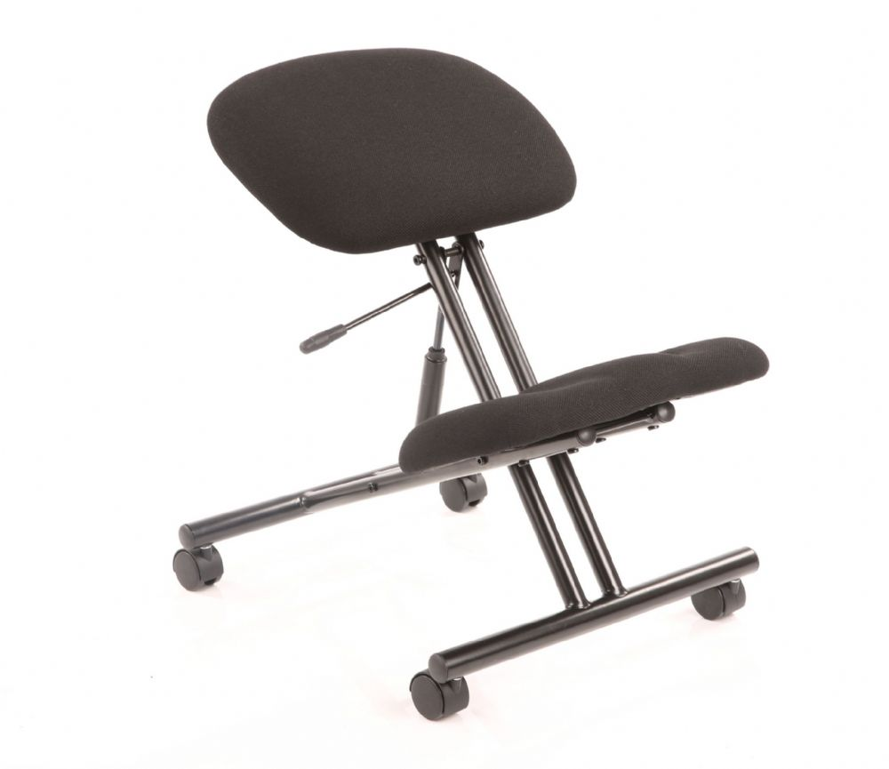 Kneeling Stool Task Operator Office Reduces Lower Back Strain Black Fabric Black Frame